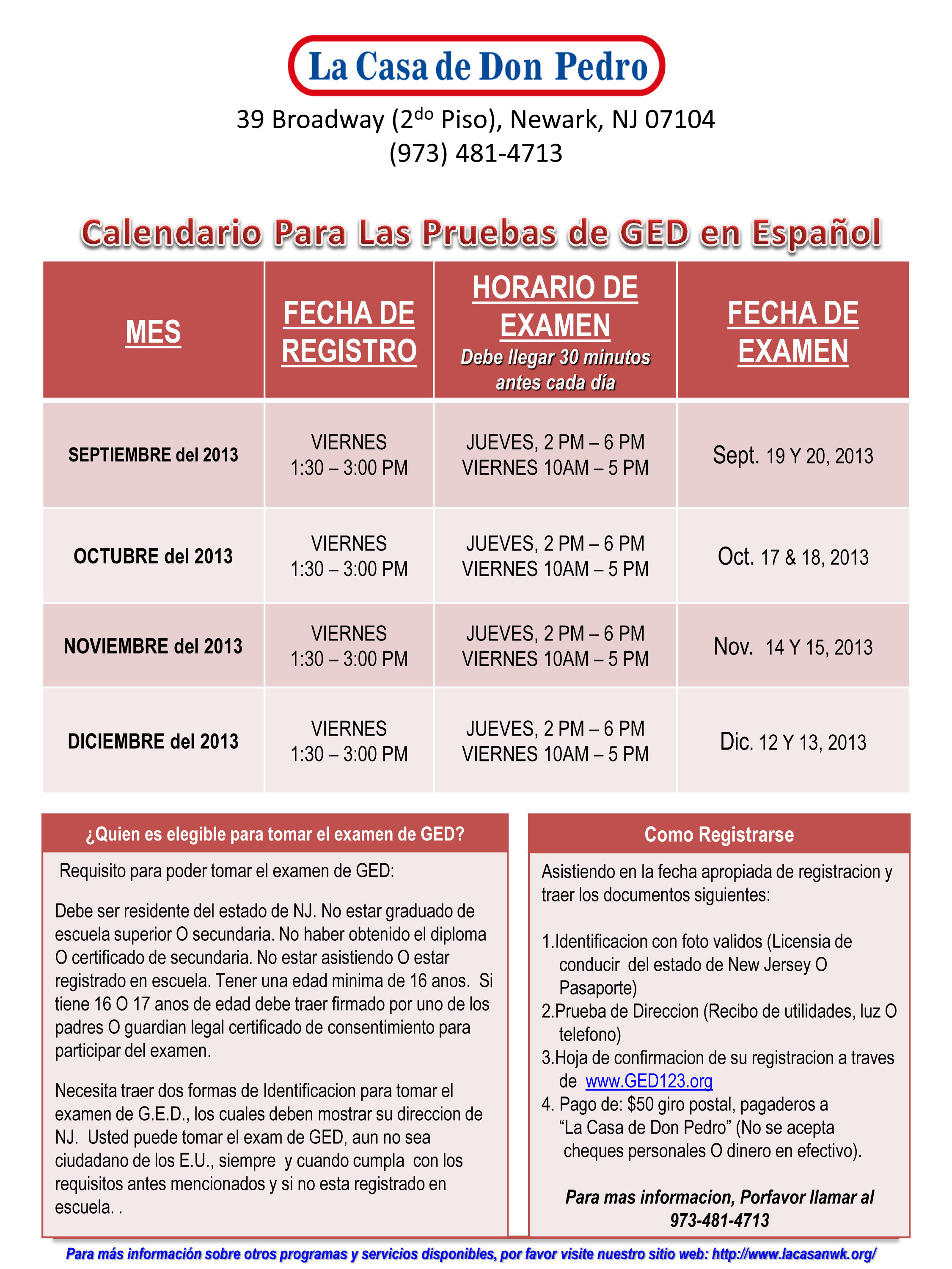 Ged testing dates in Perth